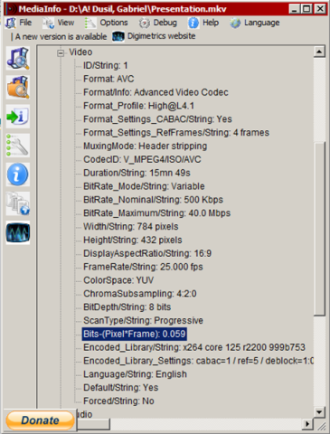 Figure iii - Snapshot of MediaInfo showing a video's Structural Metadata