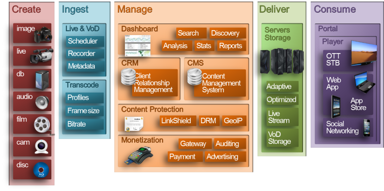 Figure vi – Digital Video Workflow from Creation, Ingestion, & Management, to Delivery & Consumption